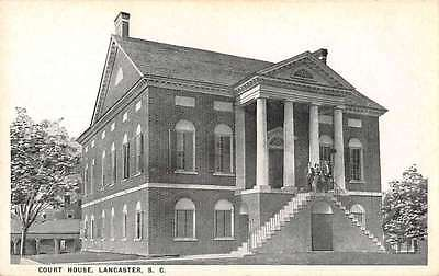 Lancaster South Carolina birds eye view court house antique pc Y13695