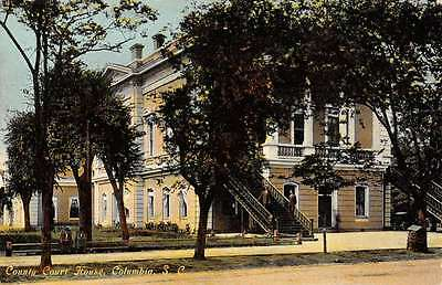 Columbia South Carolina County Court House Street View Antique Postcard K25604