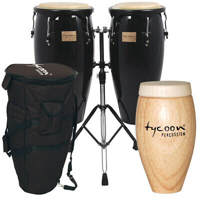 TYCOON PERCUSSION BLACK CONGA DRUM BEGINNER PACKAGE w/ CASES, STAND & SHAKER