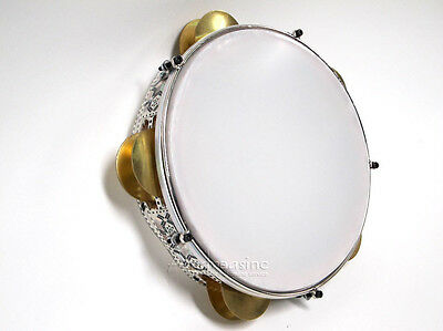 NEW EGYPTIAN TUNABLE TAMBOURINE AFRICAN FRAME DRUM Riq Mother of Pearl - Wave