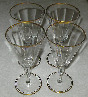 "Vintage Set of 4 Wine/Sherry Glasses With Gold Encrusted Rims - 7"" Height - #2"