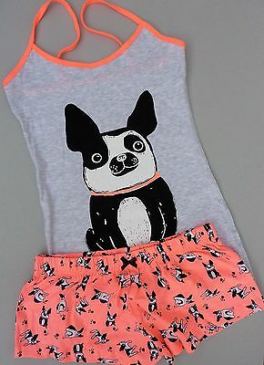 NEU Primark Pyjama Shorty Set S M L XL French Bully Bulldogge Hund Schlafanzug