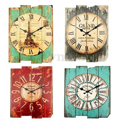 Retro Wood Wall Clock Shabby Vintage Rustic Home Office Bar Decoration Gift