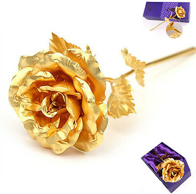 24K Gold Plated Rose Romantic Anniversary Valentine Luxury Girlfriend Mother day
