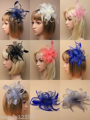 Pack Of 3 / 6 Looped Net Ribbon & Feather Fascinators On A Clear Comb, Wholesale