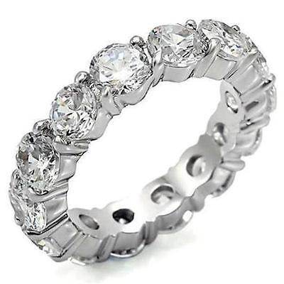 4 TCW .925 Sterling Silver Round CZ Eternity Wedding Stackable Ring Band Size 7