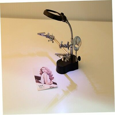 3.5x&12X 3rd Helping Clip LED Magnifying Soldering Iron Stand Len Magnifier EK