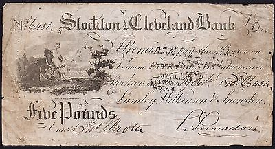 1813 STOCKTON & CLEVELAND BANK £5 BANKNOTE * 16431 * VG * Outing 2046c *