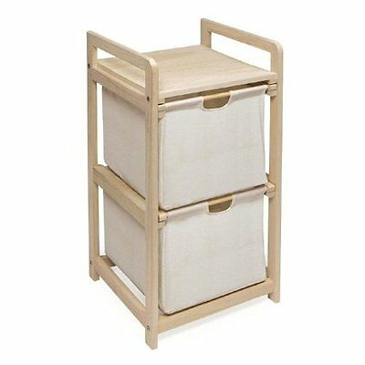 Natural Unfinished Two Bin Hamper Storage Unit by Badger Basket