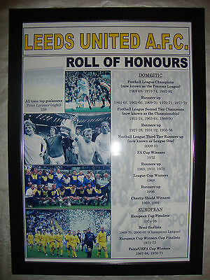 Leeds United club history roll of honours - framed print