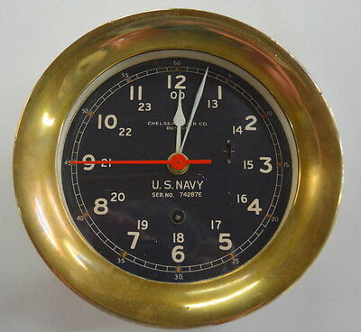 Vintage WW 2 U S Navy Chelsea Clock Co. Ships Clock Nautical