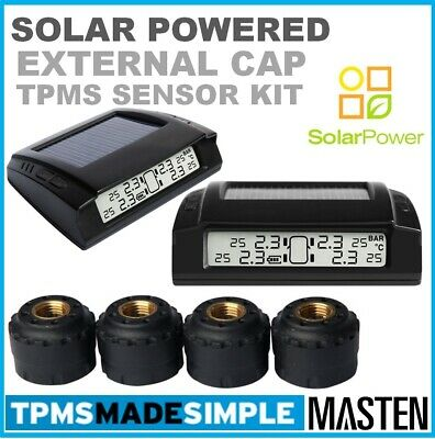 'TPMS Tyre Pressure Monitoring System LCD 4 External Tire Sensors Solar Powered