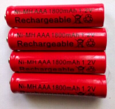 4x 1800 mAh 1.2V AAA NIMH NI-MH Rechargeable Battery Cell Batteries Rechargeable