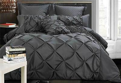 Charcoal Grey Quilt Cover 3pc Diamond Pintuck Doona Cover Set - Super King Queen