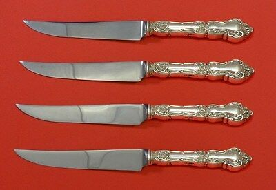 Meadow Rose by Wallace Sterling Silver Steak Knife Set 4pc HHWS  Custom 8 1/2""
