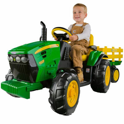 John Deere Electric Ride On Ground Tractor w/Trailer/Toy/Adjustable/Kids/Child