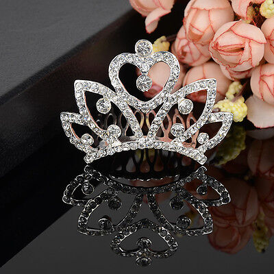 Crystal Bridal Wedding Jewelry Crown Tiara Headband Hair Comb Veil Prom Party