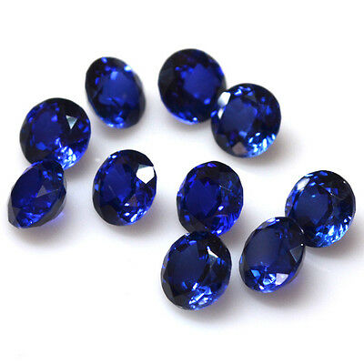 AAA Lab Created Blue Sapphire Round Wholesale Lot Gemstone 5,10,25 pcs (4 -10mm)