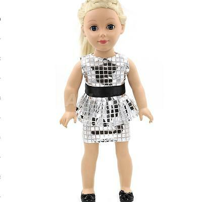 """Silver Sequins Dress for 18"""" American Girl Doll Our Generation Journey Girl"""