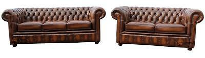 Chesterfield London English 3+2 Seater Antique Tan Leather Sofa Settee Suite