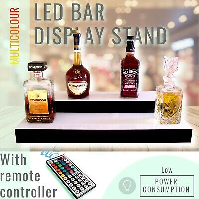 LED Lighted Bottle Display Stand Back Bar Shelf Tier Step Glowing 2 Tier