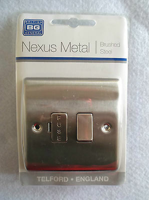 British General Nexus Range Brushed Steel 13A Switched Fused Connnection Unit