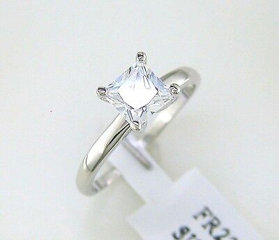 1 ct. Princess Cut Cubic Zirconia Solitaire Ring Sterling Silver