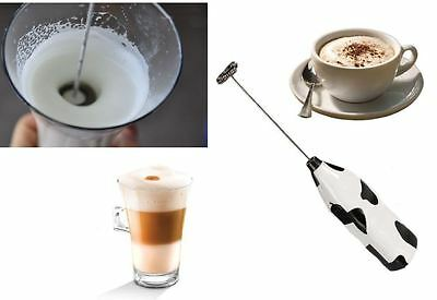 Milk Frother Cow Pattern Battery Run Hand Coffee Capucino Froth Whisk Blend Gift