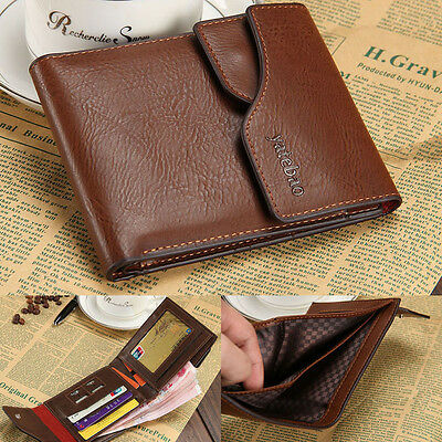 Men's Bifold Leather Credit Card Holder Wallet Purse Billfold Clutch Removeable