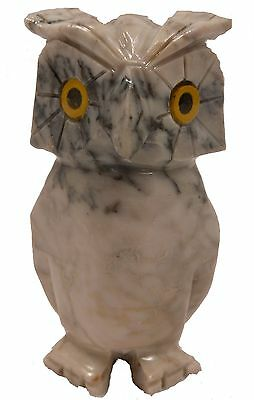 "Hand-Carved Peruvian 3"" MARBLED GRAY SOAPSTONE OWL (7550)"
