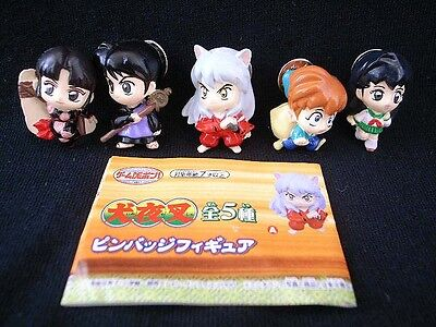 2002 Japan Banpresto Inuyasha Set of 5 Mini Pin Gashapon Collection Mini Figure