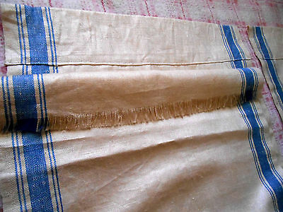 """Vtg French Linen N&w Blue Stripe 152"""" Towel Toweling Fabric 2 Curtain Panels Exc"""