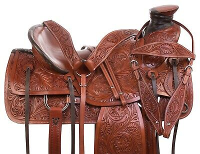 Western Pleasure Trail Ranch Roping Cowboy Horse Leather Saddle Tack 16
