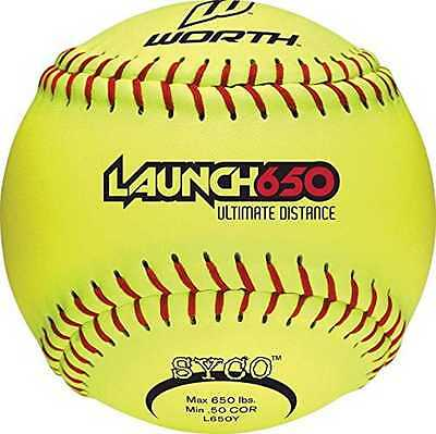 """Worth 12"""" Launch 650 Ultimate Distance Slowpitch Softballs, (12) Yellow. L650Y"""