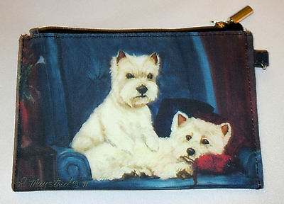 West Highland White Terrier Coin Purse Makeup Zippered Pouch Fully Lined Westie