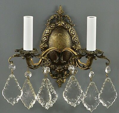 PAIR Italian Brass & Crystal Sconces c1930 Vintage Antique Wall Lights Bronze