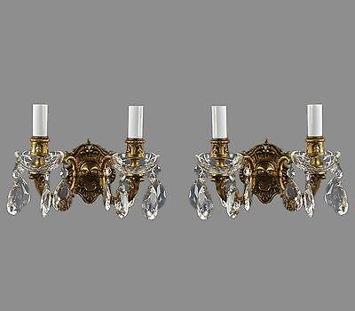 Pair Brass & Crystal Sconces c1950 Vintage Antique Wall Lights Restored Gold