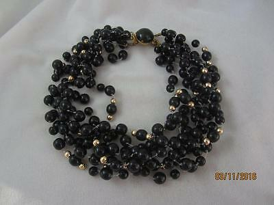 Stunning Classic Early Lisa Marinucci Black Glass & Gp Bead 8 Strand Necklace