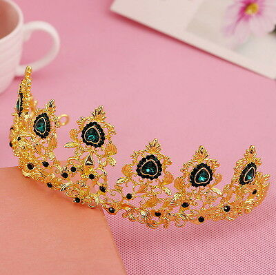 6cm High Heart Luxury Golden Green Crystal Wedding Party Pageant Prom Tiara