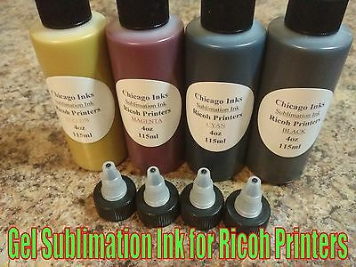 GC41 Gel Sublimation Ink for Ricoh Printers 4 Colors 4oz [115ml] ea. Color.
