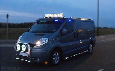 Volkswagen VW Crafter Stainless Steel Front Roof Light Bar + LEDS + Chrome Spots