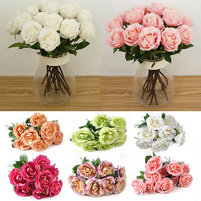 Beautiful 10 Head Rose Flowers Latex Real Touch for Wedding Home Decor Bouquet