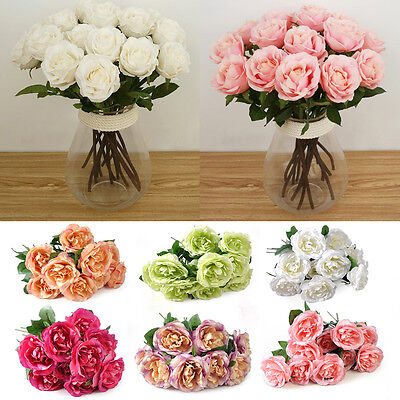 Beautiful 10 Head Rose Flowers Real Touch for Wedding Home Decor Bouquet