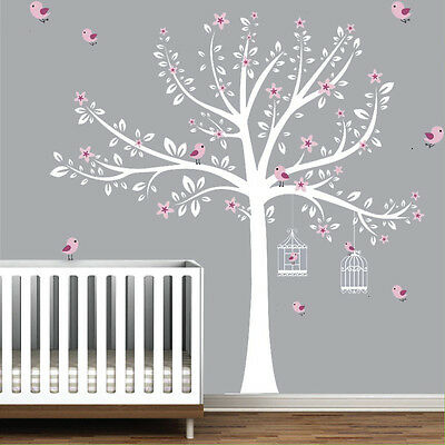 Wall stickers custom colour xlarge tree bird cage flowers decal home vinyl kids