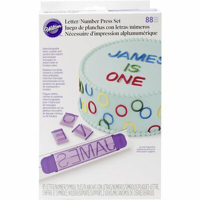 Wilton 88 Pieces Purple White Number Letter Press Cake Decoration Party Set