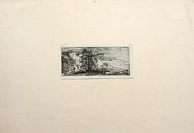 David Charles Read (1790-1851) Small etching, figures in a mountainous landscape