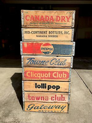8 Vintage Rare Wood Soda Crates Pepsi Towne Club Lollipop Gateway Canada Dry