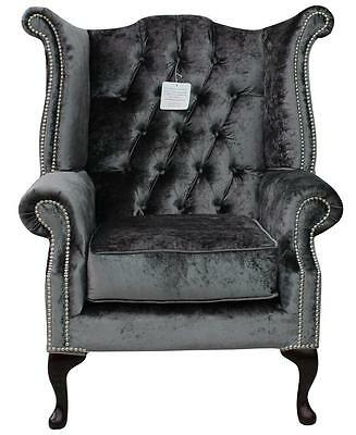 Chesterfield Armchair Queen Anne High Back Wing Chair Boutique Storm Velvet SS