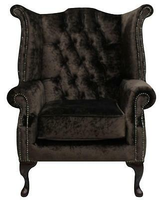 Chesterfield Armchair Queen Anne High Back Wing Chair Brown Velvet