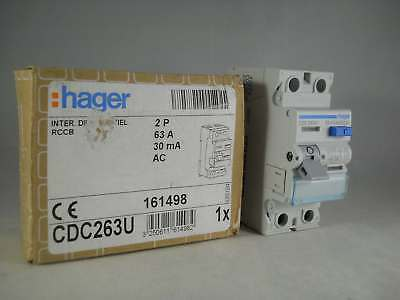 Hager RCD 63 Amp 30mA Double Pole 63A RCCB 161498 CDC263U NEW